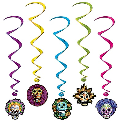 """""Beistle 3' 4"""""""" Day Of The Dead Whirls, 15/Pack"""""" 1066416"