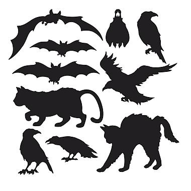 Silhouettes d'Halloween, 5 à 12 1/2 po, noir, paq./40