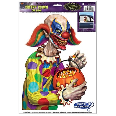 Creepy Clown Backseat Driver Car Cling, 12