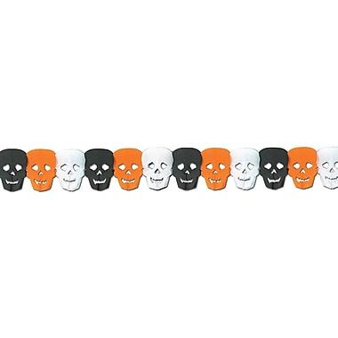 Guirlande crâne, 5 1/2 po x 12 pi, noir, blanc, orange, paq./4