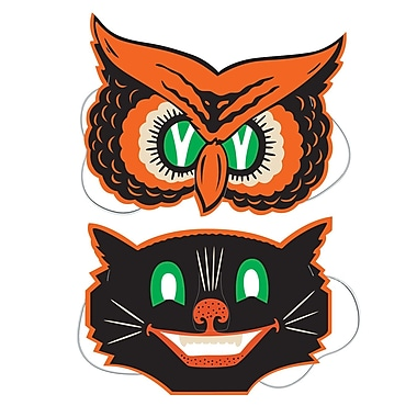 Owl and Cat Masks, 9 1/2