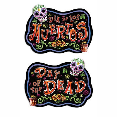 """""Beistle 18"""""""" x 18"""""""" Day Of The Dead Sign, 5/Pack"""""" 1066701"