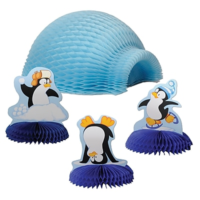 """""Beistle 4"""""""" & 9"""""""" Tabletop Igloo With Penguins, 12/Pack"""""" 1066570"