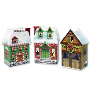 "Beistle 3 3/4"" x 6 3/4"" Christmas Village Favor Box, 9/Pack"