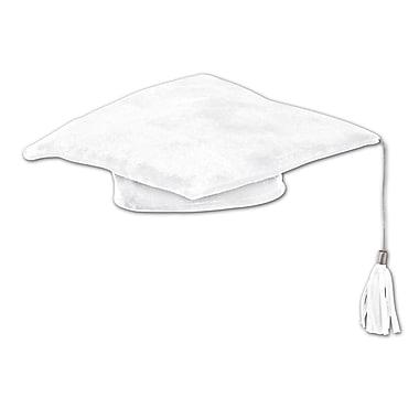 Chapeau de diplômé molletonné, 10 po, blanc, paquet de 3