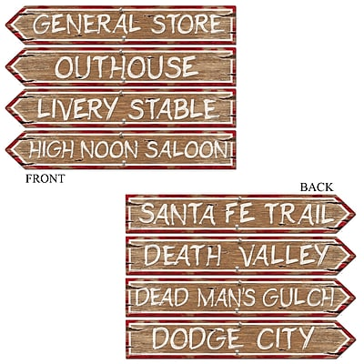 """""""""""Beistle 3 3/4"""""""""""""""" x 23 3/4"""""""""""""""" Western Sign Cutouts, 12/Pack"""""""""""" 1065857"""