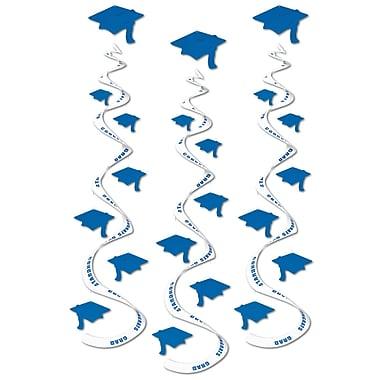 Tourbillon de chapeaux de diplômé, 30 po, bleu, paquet de 9