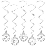 "Beistle 3' 4"" 25th Anniversary Whirls, Silver, 15/Pack"