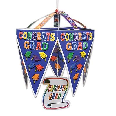 """""Beistle 11 1/2"""""""" x 17 1/2"""""""" Congrats Grad Pennant Chandelier, Multicolor, 4/Pack"""""" 1065800"