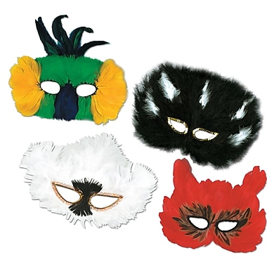 Classic Fanci-Feather Masks, One size fits most, 12/pack