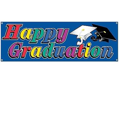 Affiche bannière « Happy Graduation » 5 pi x 21 po, paquet de 3