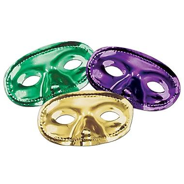 Metallic Half Masks, Green/Gold/Purple, 24/Pack