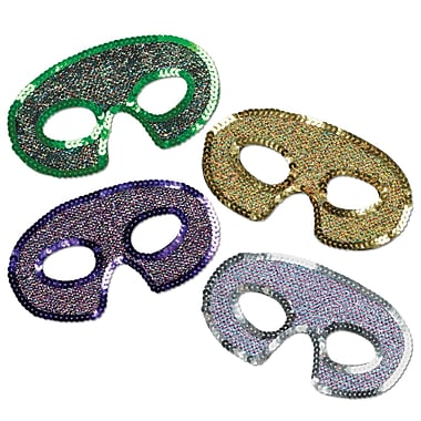Sequin-Lame Half Masks, One size fits most, 12/pack
