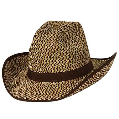 Chapeau western 2 couleurs avec bande et broderies brunes, taille universelle, 2/paquet