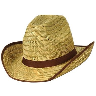 Chapeau de cowboy avec bande et broderies brunes pour adulte, taille universelle, 2/paquet