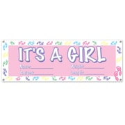 "Beistle 5' 3"" x 21"" Its A Girl Sign Banner, 3/Pack"