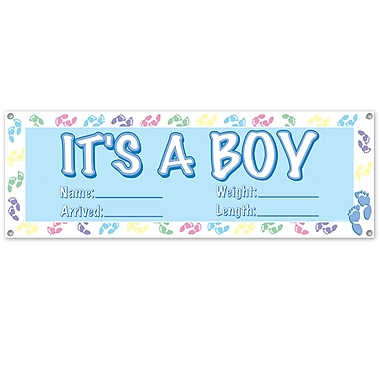 Light Blue It's A Boy Sign Banner, 5', 3