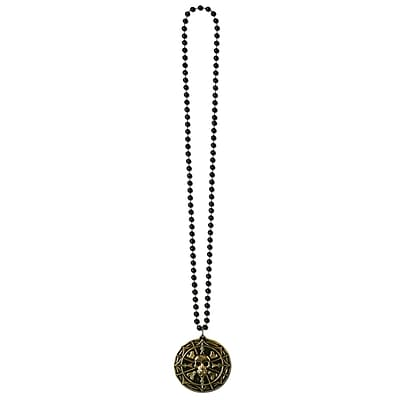 Beistle Beads Necklace With Pirate Coin Medallion, 36