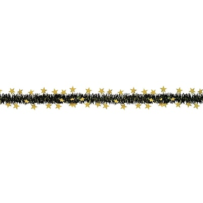 Beistle 12' Flame Resistant Metallic Star Garland, Black/Gold, 3/Pack