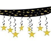 "Beistle 12"" x 12' Stars Are Out Ceiling Decor, Black/Gold, 2/Pack"