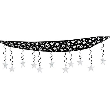 Décor de plafond de ciel étoilé, 12 po x 12 pi, noir et argenté, 2/paquet