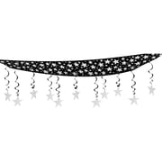 "Beistle 12"" x 12' Stars Are Out Ceiling Decor, Black/Silver, 2/Pack"