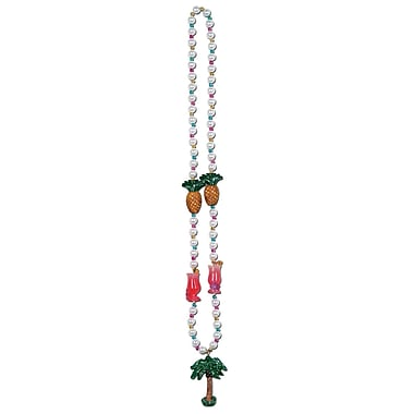 Beistle Luau Party Beads Necklace With Palm Tree Medallion, 40