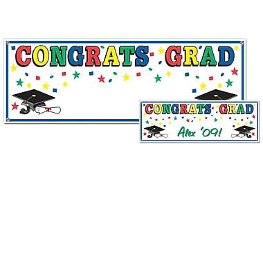 Banderole « Congrats Grad », 5 pi x 21 po, multicolore, paquet de 3