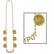 "Beistle Jackpot Beads Necklace, 36"", Gold"