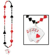 Beistle Card Suit Beads Necklace With Royal Flush Medal, 36""