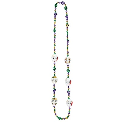 Beistle Mardi Gras Mime Beads Necklace, 42