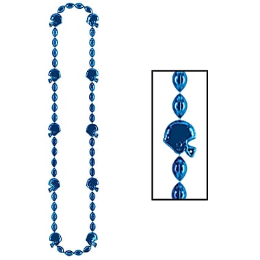 Colliers de perles de football, 36 po, bleus, 6/paquet