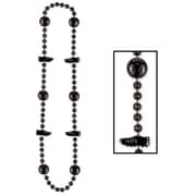 "Beistle Soccer Beads Necklace, 36"", Black"