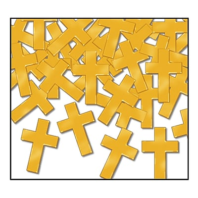 Beistle Crosses Fanci Confetti, Gold, 5/Pack