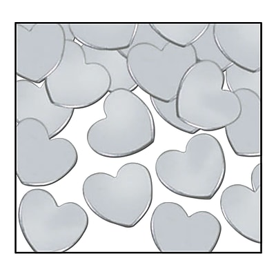 Beistle Hearts Fanci Confetti, Silver, 5/Pack