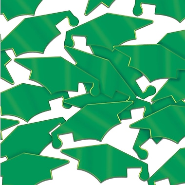 Beistle Grad Caps Fanci Confetti, Green, 5/Pack