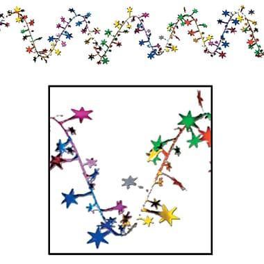 Beistle 25' Gleam 'N Flex Star Garland, Multicolor, 4/Pack