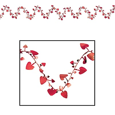 Beistle 25' Gleam 'N Flex Heart Garland, Red, 4/Pack