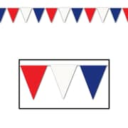 """Beistle 17"""" x 120' Patriotic Outdoor Pennant Banner, Red/White/Blue"""