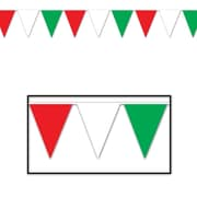 "Beistle 10"" x 12' Indoor/Outdoor Pennant Banner, Red/White/Green, 4/Pack"