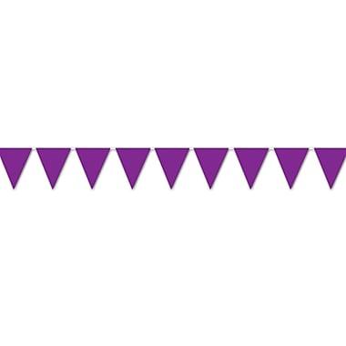 Banderole à fanion intérieure/extérieure, 10 po x 12 pi, violet, paquet de 4