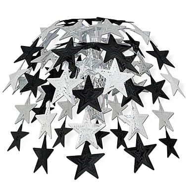 Cascade d'étoiles, 24 po, noir et argenté, 2/paquet