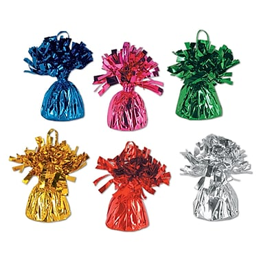 Beistle 6 oz. Metallic Wrapped Balloon Weights, Assorted, 12/Pack