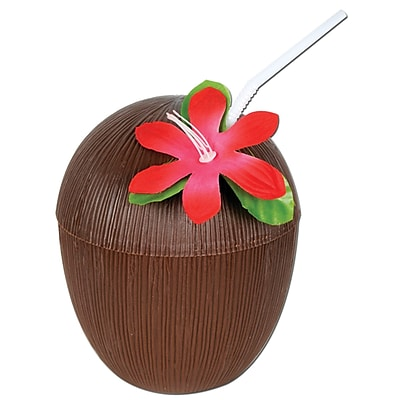 Beistle 16 oz. Coconut Cup, Brown, 4/Pack 1067980