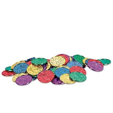 Pièces de monnaie en plastique, couleurs variées, 1 1/2 po, 200/paquet