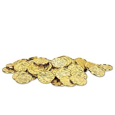 Pièces de monnaie en plastique, 1 1/2 po, doré, 200/paquet