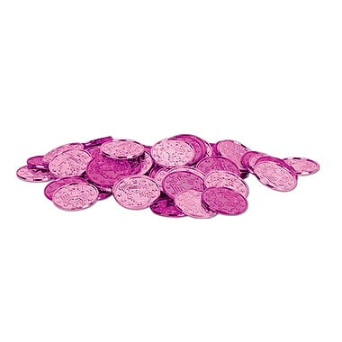 Pièces de monnaie en plastique, 1 1/2 po, rose, 200/paquet