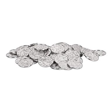 Pièces de monnaie en plastique, 1 1/2 po, argenté, 200/paquet