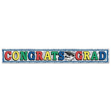 Banderole à franges métalliques « Congrats Grad », 8 po x 5 pi, paquet de 4