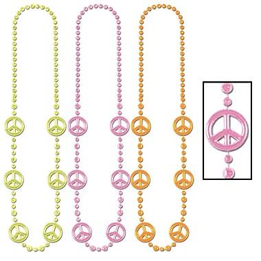 Colliers de perles néon signe de paix, 36 po, 9/paquet